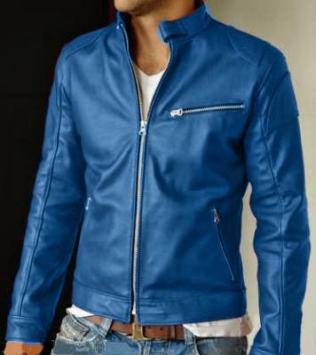 Chaqueta de cuero hombre azul ELegans