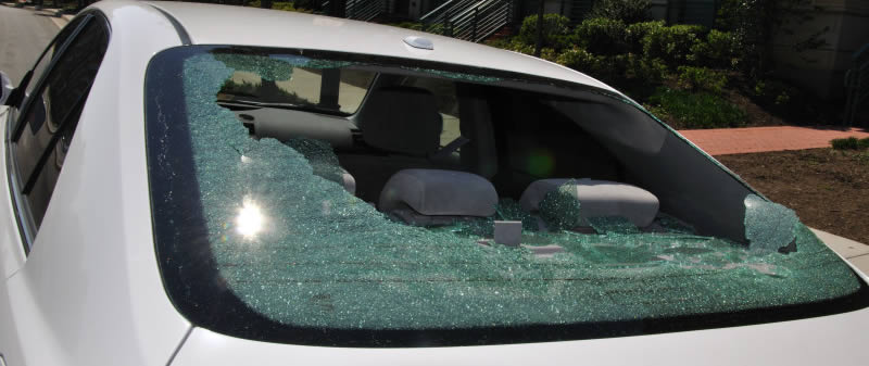 Auto Glass Replacement The Woodlands, TX - shattered rear window repair