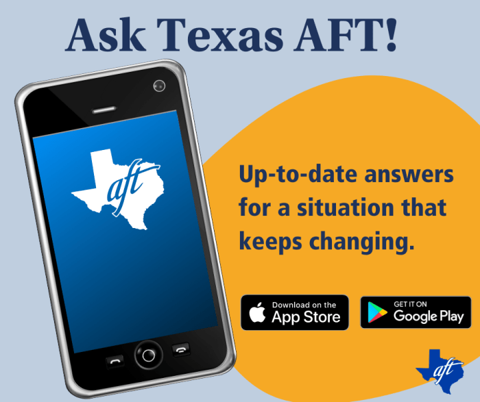"""Text says """"Ask Texas A-F-T. Up-to-date answers for a situation that keeps changing."""""""