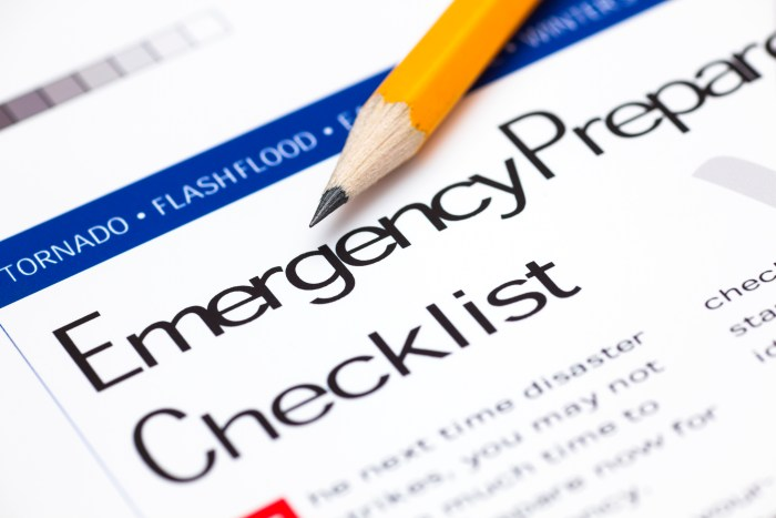 """Pencil on top of paper with title """"Emergency Preparedness Checklist."""""""
