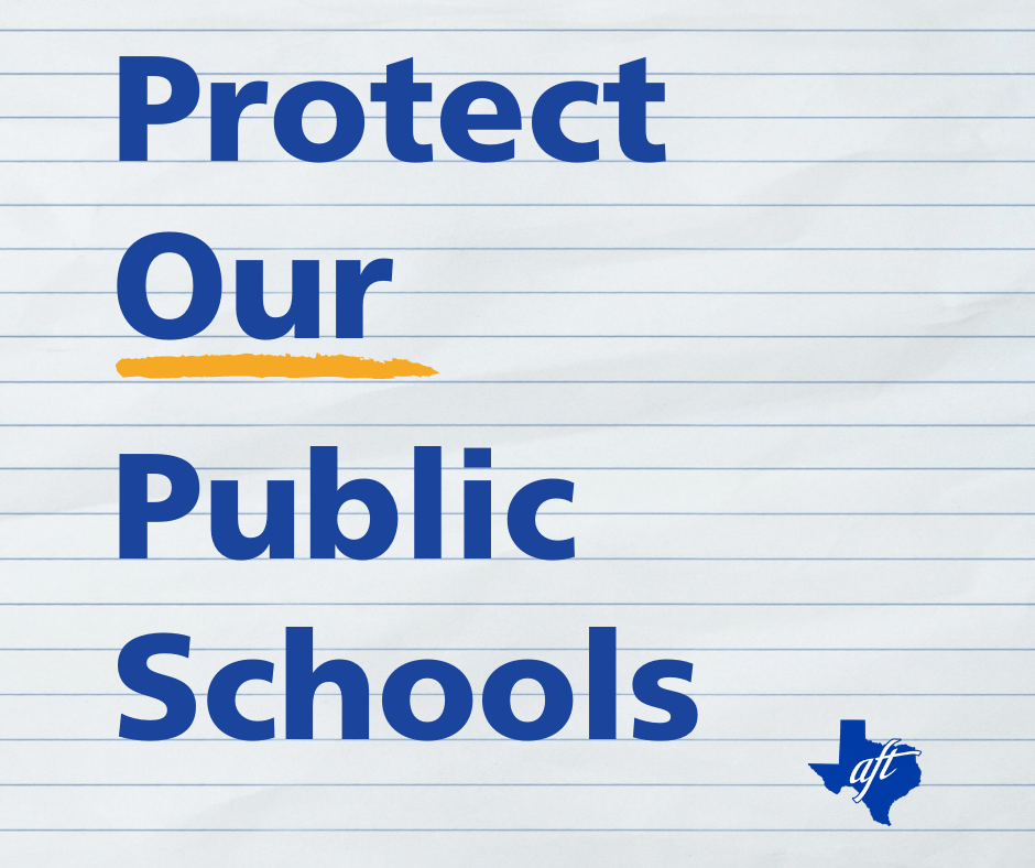 """Text says, """"Protect Our Public Schools."""" The word """"our"""" is underlined."""