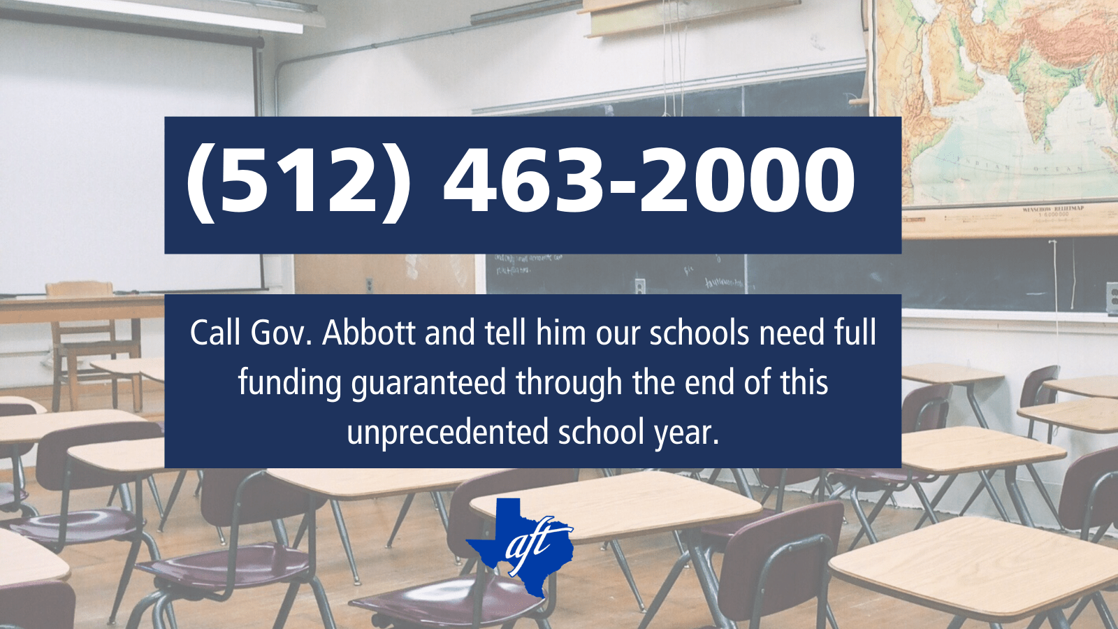 """Text says, """"Call Governor Abbott and tell him our schools need full funding guaranteed through the end of this unprecedented school year."""" Phone number is 512 463 2000."""