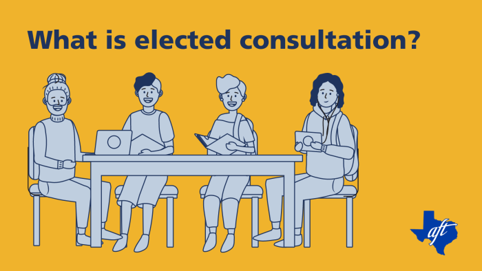 """Text says, """"What is elected consultation?"""" Illustration shows four people smiling at a table."""
