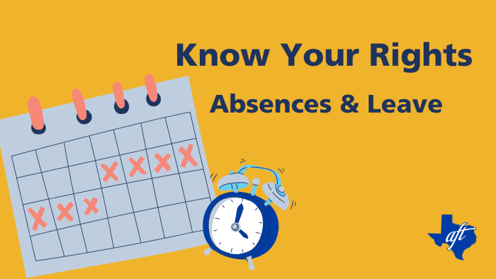 """Text says """"Know Your Rights, Absences and Leave."""" Illustrations show a calendar with days marked by X's and an alarm clock."""