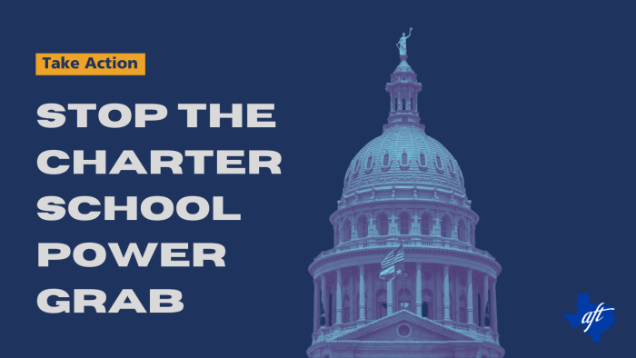 """Text says, """"Take Action. Stop the Charter School Power Grab."""""""
