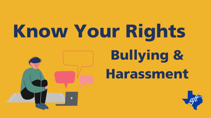 """Text says, """"Know Your Rights. Bullying and Harassment."""""""
