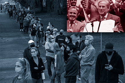 at top right, governor Greg Abbott smiles holding SB 1,  while image on left shows a lengthy polling place line