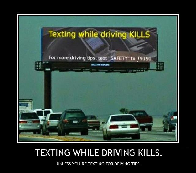 texting while driving irony
