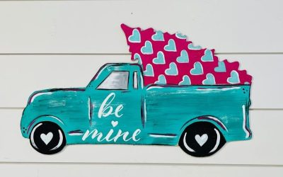 How To Paint A Truck And Tree For Valentine's Day