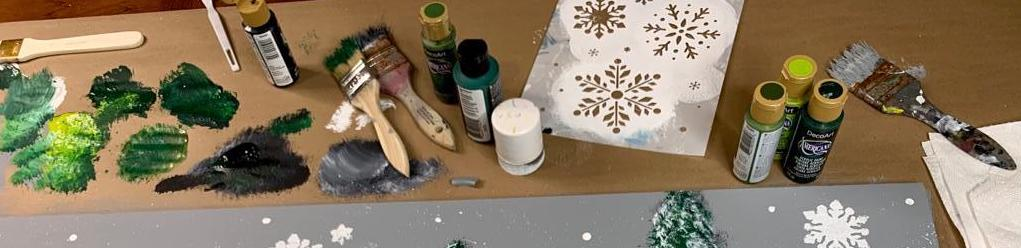 Painting supplies on a table
