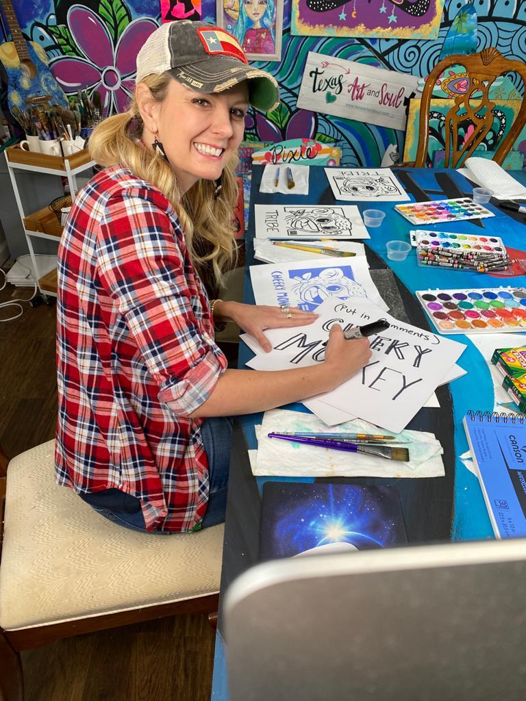 Woman teaching paint parties