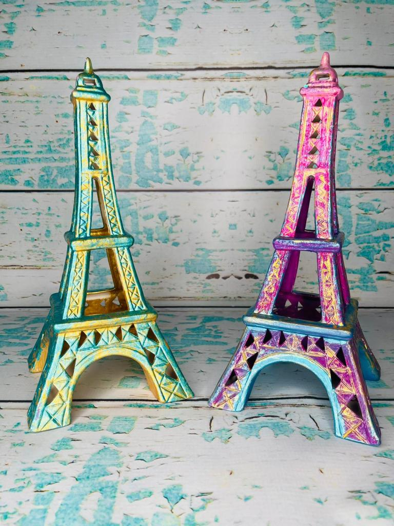 2 eiffel towers painted in spring colors