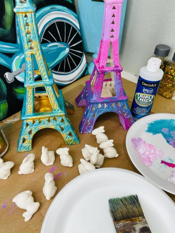 cute painted ceramic eiffel towers with unpainted ceramic bunnies