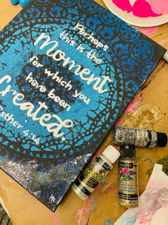 Esther 4:14 painted on canvas with bottles of glitter glue