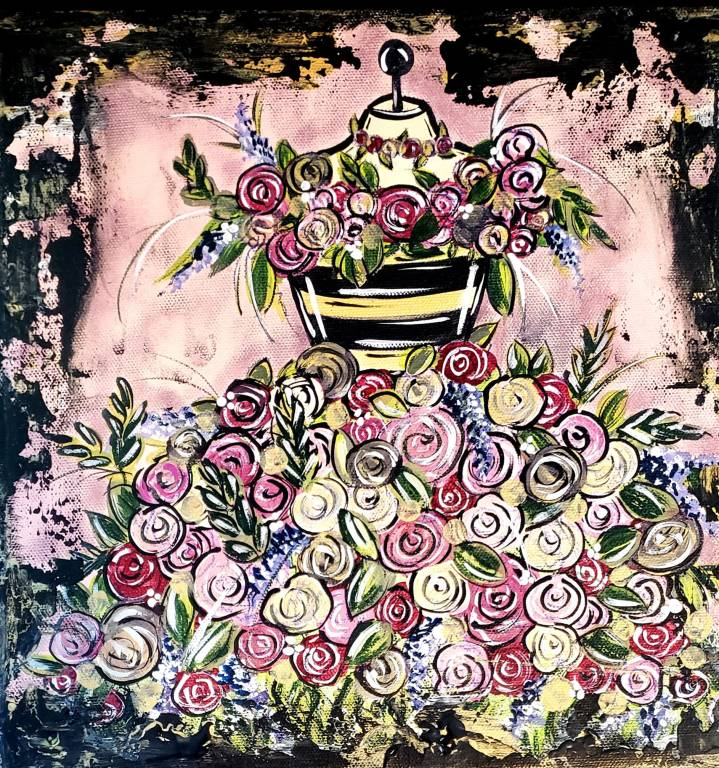 flowers painted as a dress on a dressform