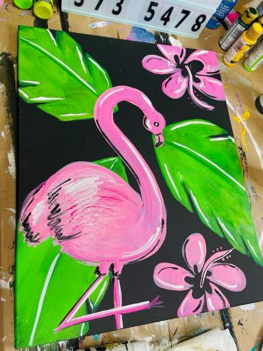 flamingo and flowers painted on canvas