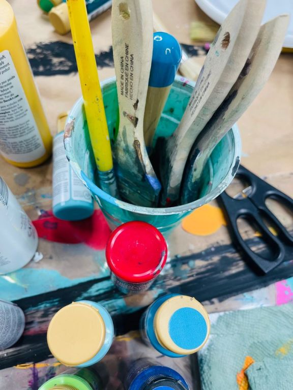 paint brushes and acrylic paint