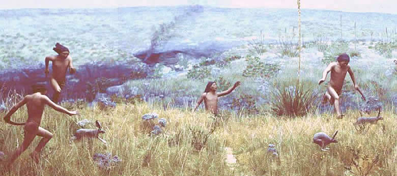 painting of prehistoric hunters