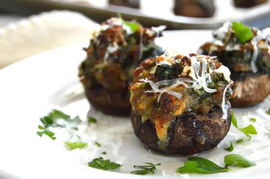 Sausage & Spinach Stuffed Mushrooms...savory, spicy, yummy goodness.