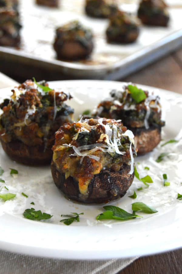 Sausage & Spinach Stuffed Mushrooms...savory, spicy, yummy goodness.