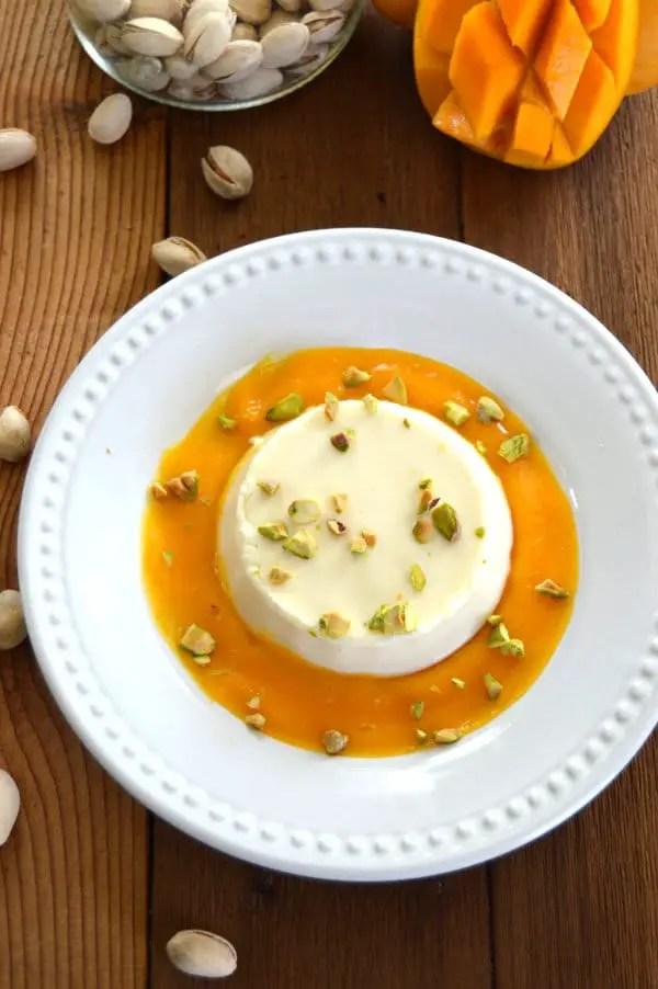 Buttermilk Panna Cotta with Mango Puree