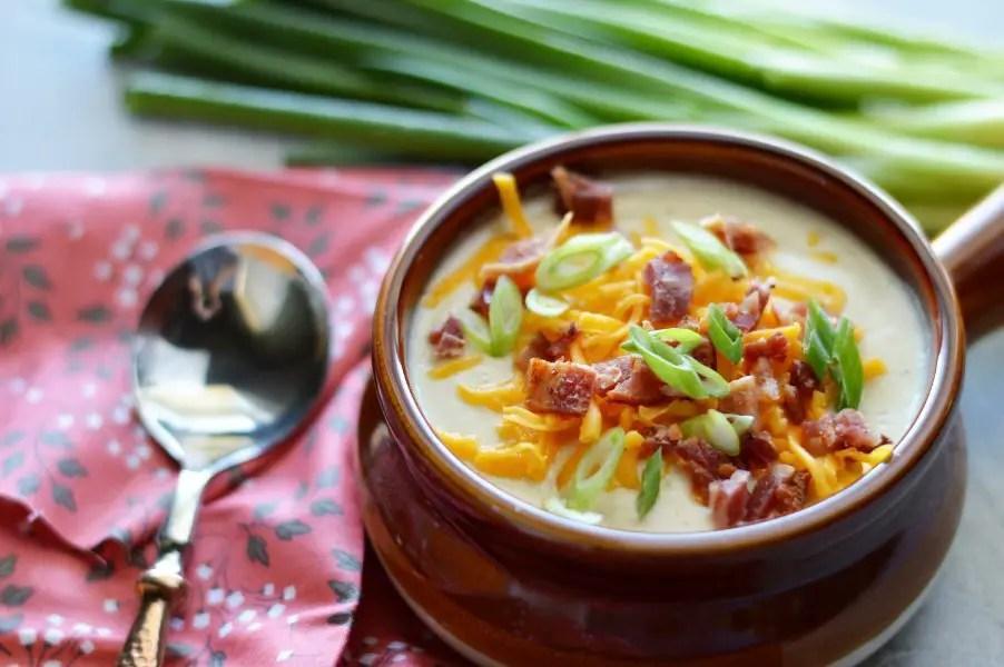 Bowl of Turnip and cauliflower keto soup