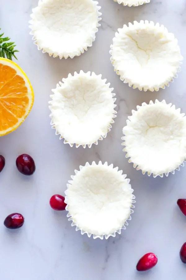 Mini Orange Cranberry Cheesecakes - Low Carb, Keto friendly and gluten free