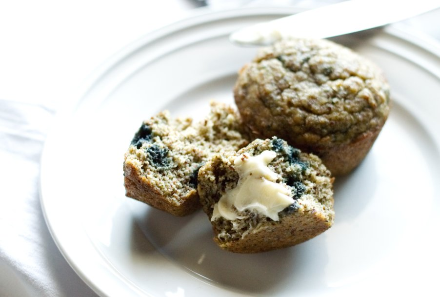 Keto Banana Blueberry Muffin with butter