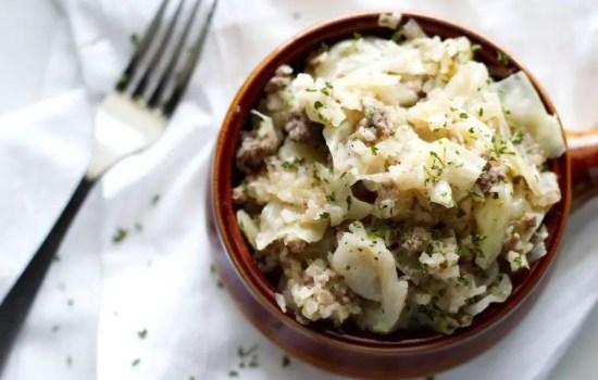 Unstuffed Cabbage Roll Skillet with Sauerkraut