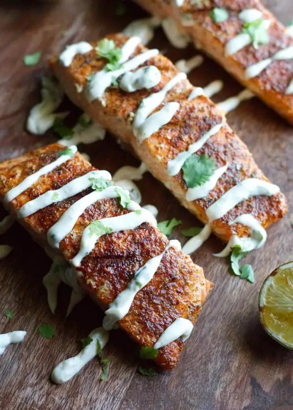 Grilled Salmon with Cilantro Lime Crema - Keto Meal Idea