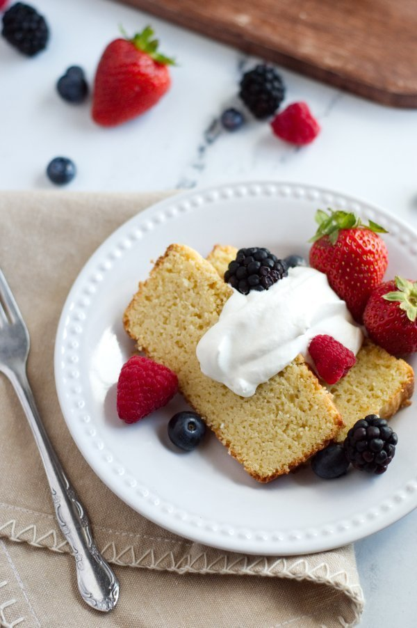 Almond Sour Cream Pound Cake with Berries