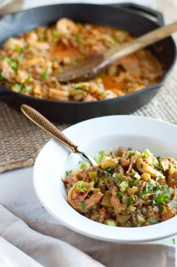 Bowl of keto shrimp etouffee with cauliflower rice