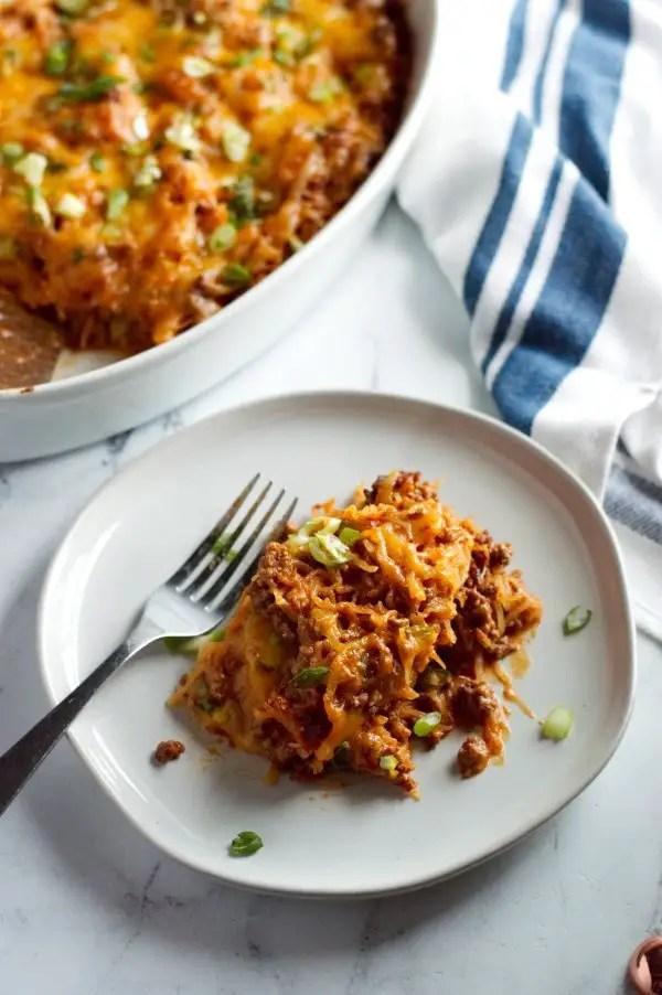 Plate of keto Mexican spaghetti casserole