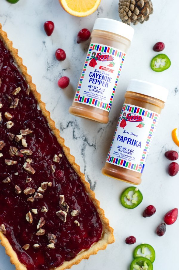 Cranberry brie tart with spices