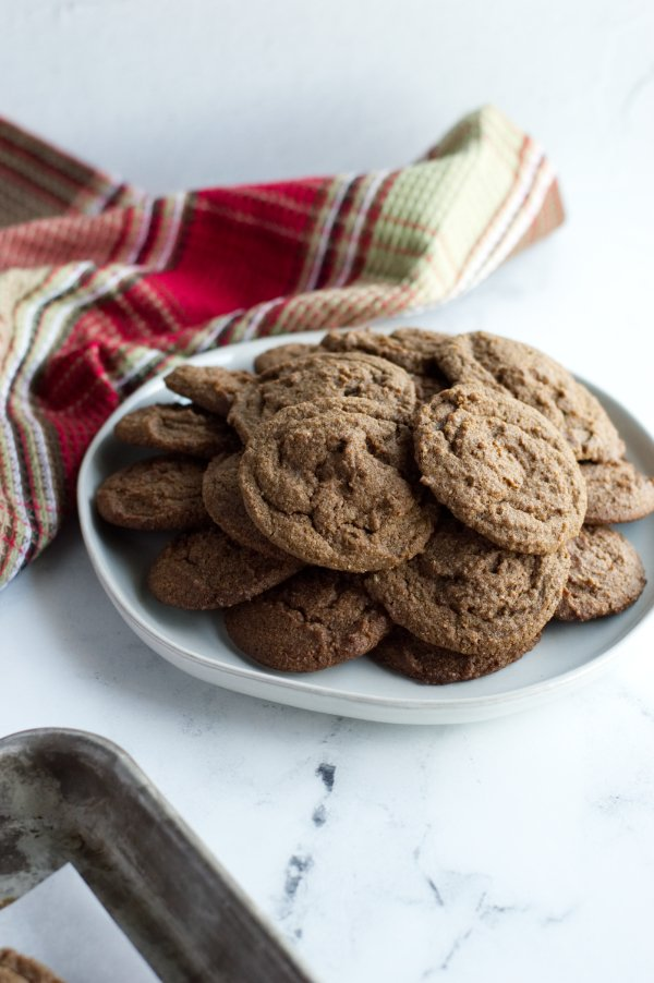 plate of keto molasses cookies made with coffee flour