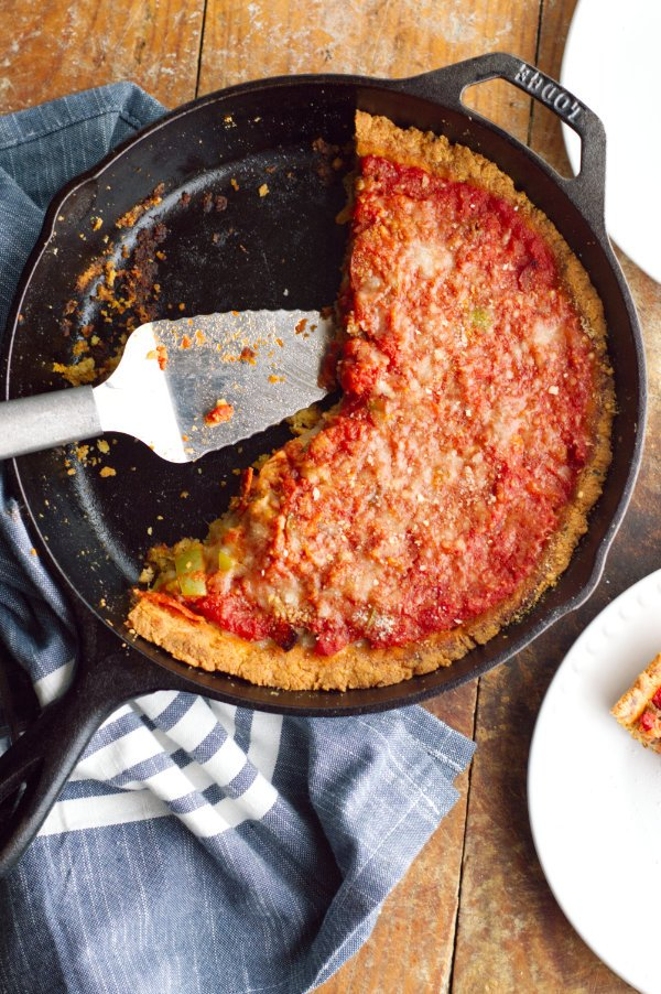 Keto Deep Dish Pizza ready to serve