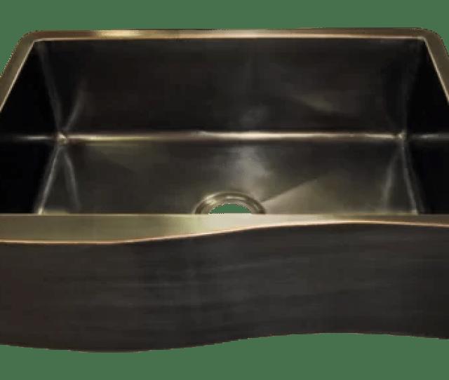 Venetian Oil Rubbed Bronze Wave Apron Front Single Basin Farmhouse Sink
