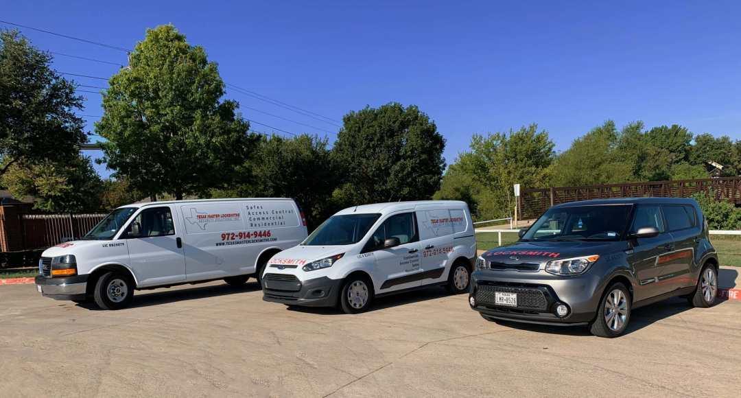 3 of Texas Master Locksmiths vans