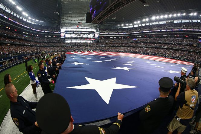 Arlington Tx September 11 A General View Of Giant American Flag Held