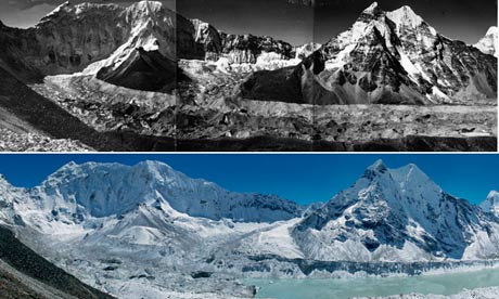 A very deep layer of ice covered the Imja glacier in the 1950s (top photo). Over the next 50 years, small meltwater ponds continued to grow and merge, and by the mid 1970s had formed the Imja lake. By 2007, the lake had grown to around 1km long. Photograph: Erwin Schneider/Alton Byers/The Mountain Institute