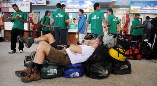 Tourist waiting at Lukla Airport