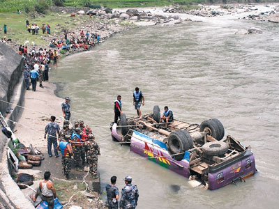 A speeding local bus plunged into the Sunkoshi River exactly a year ago (May 31, 2012) / Photo Source: Ekantipur