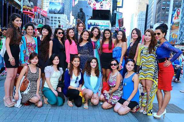 Miss Nepal US 2013 Finalists at Times Square (Photo Courtesy: Garja Sherpa Ang Kami via Nabina Basnet)