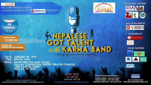 NEPALESE GOT TALENT is coming to Dallas, TX with Karma Band