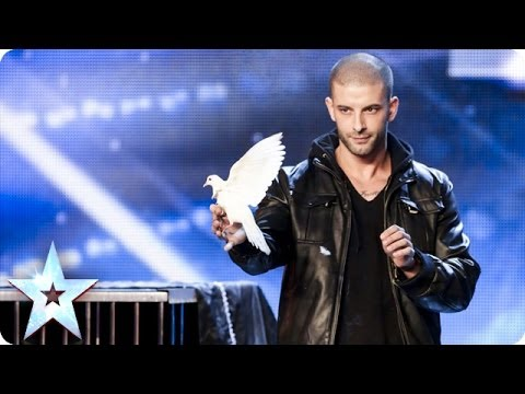 Darcy Oake performing dove illusions at Britain's Got Talent