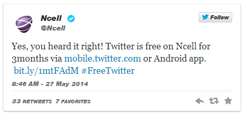Free Twitter Browsing For Ncell Subscribers