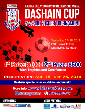 Third Annual Dashain Cup Soccer Tournament by Vastika-Dallas Gurkhas FC
