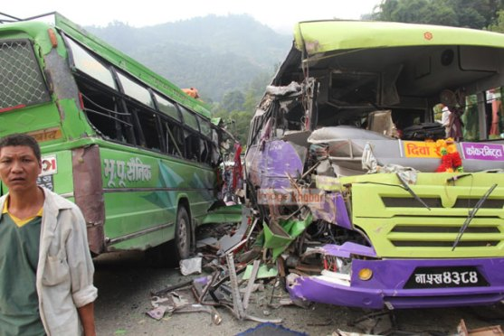 Five killed, 36 injured in Dhading Bus Collision