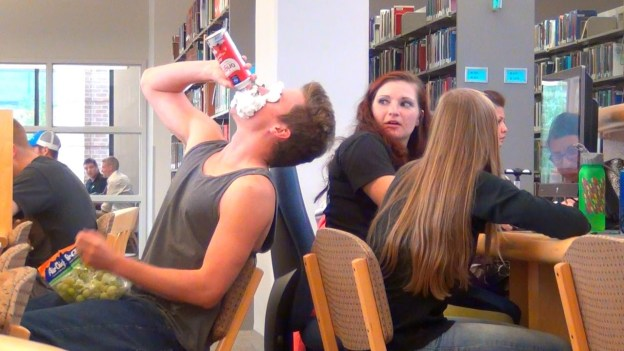 Loud Eating in the Library Prank