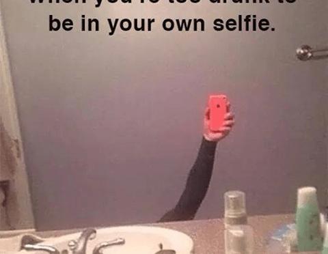 Too drunk for selfie!